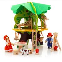 holzspielhäuser großhandel-Pretend Play Wooden Toys 3D-Baumhaus Vorschule Holzspielzeug für Kinder Bausteine Freeshipping