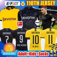 Wholesale Thailand Maillots de foot Borussia Dortmund Soccer Jersey th Black REUS M GOTZE SANCHO HAALAND football shirts HUMMELS PACO Kids socks