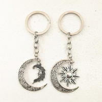 Wholesale moon keychain for sale - Group buy 1Pcs Daily Life Inspired New Silver Plated D Fashion Sun Moon Half Moon Pendant Keychain Fashion Mini Jewelry