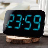 elektronisch 24 großhandel-Wecker 12/24 Stunden LED-Wecker Sprachsteuerung Große LED-Anzeige Elektronische Snooze Backlinght Desktop Digital Tischuhren Uhr