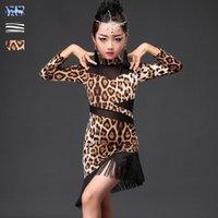 saias de dança zebra venda por atacado-Vestido de dança latina criança crianças leopardo zebra impressão saia franja meninas latinas vestidos de salsa desgaste desempenho de palco 3 cores