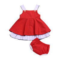 robe de fête de dentelle rouge bébé achat en gros de-2019 INS vente chaude été bébé filles Robes De Fête D'anniversaire avec shorts dentelle rouge Costume Vêtements Pour Enfants fille princesse robe