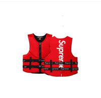 surfende lebenweste großhandel-Klon rote Schwimmweste und Boje Erwachsenen Auftrieb Schwimmweste Schutz Weste Sommer zum Schwimmen Angeln Rafting Surfen