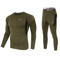 ingrosso rapida essiccazione di biancheria intima-2019 Nuovi uomini Tactical Underwear Outdoor Sportswear Elastico a rapida asciugatura Suit sportivo manica lunga pantaloni lunghi