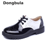 Wholesale child leather loafers online - Children Genuine Leather Wedding Dress Shoes For Girls Boys Kids Black School Performance Formal Flat Loafer Moccasins Shoes New