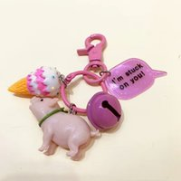 Wholesale Fashion Pig Chaveiros Lovers Couple Pet Keychain Lovely Kiss Charms Men Women Bells Key Holder Purse Bag Car Motor Key Ring Trinket Gifts