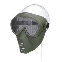 Wholesale metal mesh half face mask resale online - Airsoft Mask Half Face Metal Steel Net Mesh Mask Hunting Tactical Outdoor Protective CS Halloween Party Half Cycling Face Mask K427