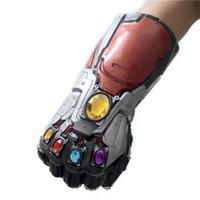 homem de ferro adulto venda por atacado-Vingadores Endgame 36 CM Thanos Homem De Ferro Luvas Com Led Adulto Infantil Halloween Cosplay Látex Natural Infinito Gauntlet Brinquedos EEA288