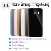 adhesivo adhesivo para samsung al por mayor-Cubierta de la contraportada de la puerta de la batería de vidrio 10pcs con adhesivo adhesivo para Samsung Galaxy S7 G930F S7 borde G935F (Individual o Doble)