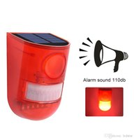 luces de advertencia de alarma al por mayor-Luz Solar LED Lámpara de Alarma A Prueba de agua Al Aire Libre 110db Advertencia Sonido Patio Camino Jardín de Hogar Sensor de Movimiento Precaución Lámpara de Seguridad
