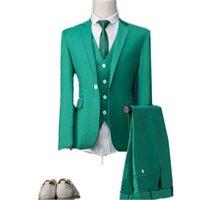 ingrosso cravatta di nozze turchese-One Button Groomsmen Notch risvolto smoking dello sposo Turchese Uomini Abiti da sposa / Prom / Cena Best Man Blazer (Jacket + Vest + Pants + Tie) O559