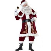 ingrosso vestito dalla barba-Costume da Babbo Natale deluxe per adulti in velluto Natale XMAS Cosplay Fancy Dress Barba e Parrucca