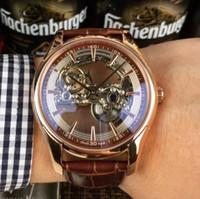 золотые часы оптовых-2019 скелет розовое золото автоматические мужские часы кожаный ремешок сапфировое стекло скольжения гладкие секундная стрелка спортивные часы