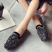 ein flacher bodenschuh großhandel-2019 Pailletten Erbsen Single Schuhe für Frau flache Sommer flache Schuhe Retro Soft Bottom Frauen single flache hohe Qualität
