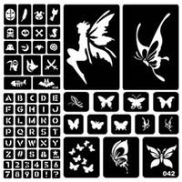 ingrosso modelli di tatuaggio-Body Art Tatuaggi Temporanei 1PC Glitter Tattoo Stencil Disegno per la pittura Airbrush Tattoo Stencil per tatuaggi Tatuaggi temporanei all'hennè ...