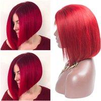 insan dantel peruk malezya toptan satış-Malezya Bakire İnsan Saç Parlak Kırmızı Dantel Ön Peruk Düz Kısa Bob Peruk Kırmızı Renkli Tam Dantel İnsan Saç Peruk Tutkalsız 130 Yoğunluk