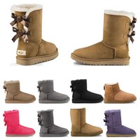 pele de botas de neve de inverno preto venda por atacado-UGG boots Estilos de Salto Alto Metade Do Joelho Ankle boots Red Bottoms Luxo 8 10 12 14CM moda tamanho 35-42