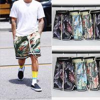 пляжные брюки оптовых-Гавайи Пляж шорты Justin Bieber High Street Короткие штаны Сыпучие Цветочные печати Mens Hip Hop шорты Seaside Одежда