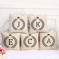 Wholesale english decor for sale - Group buy Home Decor A Z Letter Pillowcase Coffee Shop Pillow Cover Single sided English Letters Printing Sofa Pillow Case inch Linen DH0884