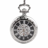Wholesale 15 inch silver chain resale online - CKKU Jewelry Classic Collection Antiqued Silver Case Half Hunter Mechanical Pocket Watches with Inch Chain for Men LPW435