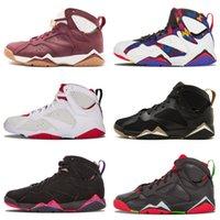 n7 basketbol ayakkabıları toptan satış-Ucuz Jumpman 7 Basketbol Ayakkabı Erkekler Kadınlar 7 s VII Mor UNC Bordo Olimpiyat Panton Saf Para Hiçbir Şey Raptor N7 Zapatos Açık Ayakkabı