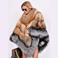 caps de peles vermelhas venda por atacado-Brasão de Luxo Feminino luxo Red Fox Fur Cape Fluffy Grosso Inverno Silver Fox Fur