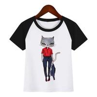 ingrosso modello t-shirt bambini-Maglietta per bambini New Cartoon Fashion Cat Modello femminile Maglietta per bambini Baby Kids Funny Clothes Maglietta estiva