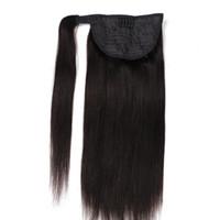 hint saçları 24 inç toptan satış-Iyi Fiyat Bakire Saç At Kuyruğu Etrafında Sarın Hint Saç Uzantıları Klip 100% İnsan Saç At Kuyruğu 14-24 inç 150 Gram set Çift Çekilmiş