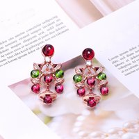 Wholesale coloured studs resale online - Newcome Fashion Lady Brass Tassels Coloured Gemstone Diamond Sector k Gold Plated Engagement Dangle Earrings