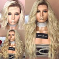 1b des cheveux blancs achat en gros de-100% Cheveux Humains Pleine Dentelle Blonde Perruque Ombre Couleur 1B 613 Deux Tone Body Wave Front Dentelle Perruques Sombre Racine Avec Des Cheveux De Bébé