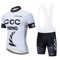 vêtements à rayures blanches achat en gros de-Nouveau blanc CCC cyclisme maillot 20D shorts de vélo costume Ropa Ciclismo mens été séchage rapide équipe PRO vélo Maillot Pantalon vêtements