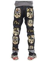 ingrosso nuovi jeans tendenza moda-2019 New Fashion Casual Uomo Jeans M Stampa gioventù di lusso di alta qualità sciolti uomini etero tendenza Mens Designer Jeans taglia 28-38