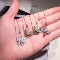 Wholesale red crystal butterfly pendant resale online - Vintage Classic Two Butterfly Brand S925 Sterling Silver Full Crystal Butterfly Pendant Necklace For Women