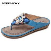 sinto falta de sapatos venda por atacado-SENHORITA VICKY 2019 Novo Verão Chinelos Casuais das Mulheres Bohemian Estilo Étnico Chinelos Ao Ar Livre Sapatos De Praia