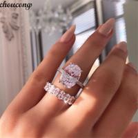 conjunto de anillos de boda de circón al por mayor-Vecalon Promise Ring set Corte Oval 5A Circón Piedra 925 Anillo de Bodas de Compromiso de Plata Esterlina para las mujeres Joyería del dedo