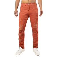 niños jeans naranja al por mayor-Hombres vendedores calientes del agujero de los hombres de la fuerza de la fuerza de la calle moda chico guapo pantalones vaqueros largos hombres naranja pantalones de cintura doble