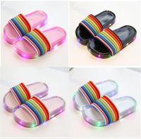 Wholesale kids summer sandals boys for sale - Group buy Kids LED Rainbow Color Slippers Summer Boys Girls Luminous Glitter Sandals Designer Children with LED Light Beach Bath Home Shoes A5801