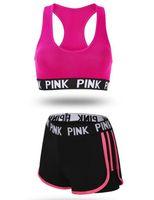 heiße bh-sets groihandel-HOT Jahreszeiten Sport-BH Shorts Anzug Frau läuft Draht frei schütteln Beweis Yoga Fitness Weste Unterwäsche zwei Stücke PINK eingestellt