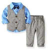 2367370f58a99 2019 Kids Boys Formal Suits Blazers Sets 4Pcs Clear Gentleman Kids Baby  Boys Suit Tops Shirt Waistcoat Tie Pant 4PCS Set Clothes