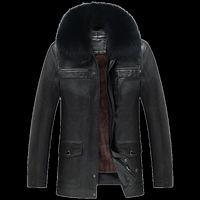 yüksek yaka pu deri ceket toptan satış-Deri Ceket Erkek Mont Marka Yüksek Kalite PU Giyim Kış Kürk Yaka Masculino Jaqueta Erkekler Rahat Ceket Erkek SIYAH KAHVE