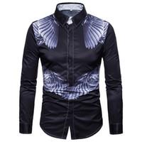 engel flügel ärmel großhandel-Neue Männer Shirts Angel Wings Casual Langarm Slim Fit Herren Shirt Größe M-3XL