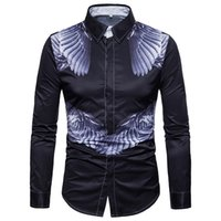 Wholesale large white wings for sale – custom New Men Shirts Angel Wings Casual Long Sleeve Slim Fit Men Shirt Large Size M XL