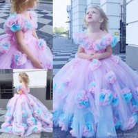 Wholesale wedding dress flower gold for sale - Group buy New Colorful Flower Girl Dresses Ball Gown Tulle Little Girl Wedding Dresses Vintage Communion Pageant Dresses Gowns
