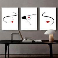 tuval resmi soyut siyah kırmızı beyaz toptan satış-İskandinav Minimalist Çizgi Çizim Kadınlar Boyama, Soyut Tuval Wall Art Siyah-Beyaz-Kırmızı Dekorasyon Duvar Posteri 3 adet / takım Hiçbir çerçeve