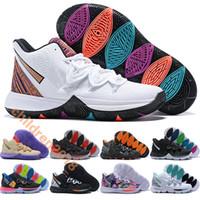 обувь больших размеров оптовых-Kyrie 5 Детская обувь Irving Basketball Shoes Дизайнерские кроссовки BHM 2019 Черная магия Taco Neon Blends Big Boys Girls Детская обувь Размер 32-39