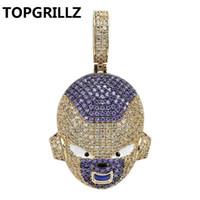 ejderha takılar toptan satış-Topgrillz Dragon Ball Karakter Frieza Kolye Kolye Buzlu Out Kübik Zirkon Hip Hop Altın Gümüş Renk Erkekler Charms Zincir Takı J190625