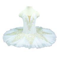 saia de sono branco venda por atacado-Criança Ballet Professional Tutu Ouro Branco Bela Adormecida Desempenho Pancake tutus Classical Ballet Figurino Skirt