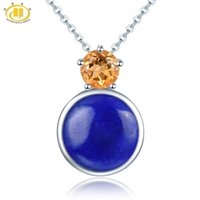 Wholesale natural gemstone 12mm for sale - Group buy Hutang mm Lapis Pendant Solid Sterling Silver Necklace Natural Gemstone Citrine Fine Jewelry for Women s Gift New