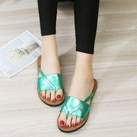 ingrosso pattini di moda pura-Summer Ladies Open Toe Sandali fondo piatto Big Code Sandy Beach Slipper Pure Color Fashion Shoes Fabbrica Diretta 16ft I1