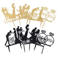 favores do casamento do ouro preto venda por atacado-Bolo De Coco De ouro preto Mariage Fontes do Partido Favores Adultos Bolo De Casamento Topper Noiva Noivo Mr Mrs Decorações Do Casamento